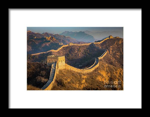 Asia Framed Print featuring the photograph Great Wall Last Light by Inge Johnsson