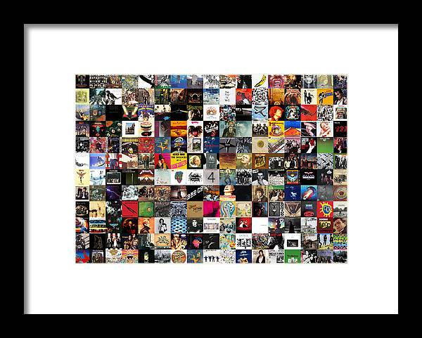 Album Covers Framed Print featuring the digital art Greatest Rock Albums of All Time by Zapista OU