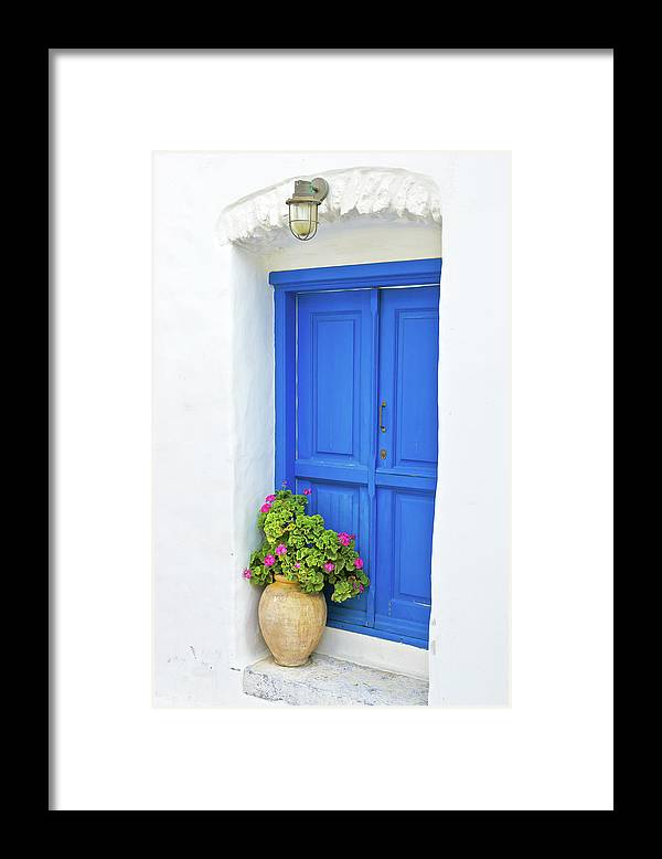 Greek Culture Framed Print featuring the photograph Greek Island Doorway by Abzee