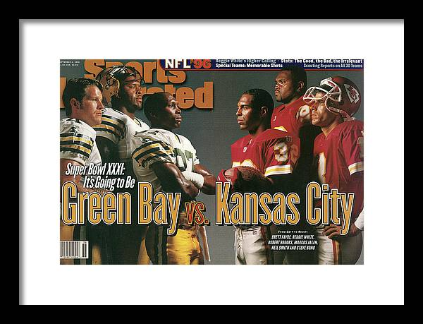 Green Bay Framed Print featuring the photograph Green Bay Packers And Kansas City Chiefs, 1996 Nfl Football Sports Illustrated Cover by Sports Illustrated