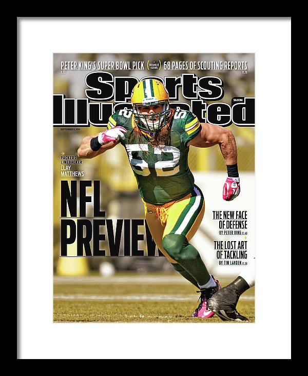 Green Bay Framed Print featuring the photograph Green Bay Packers Clay Matthews, 2011 Nfl Football Preview Sports Illustrated Cover by Sports Illustrated