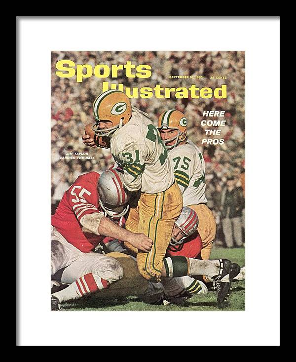 Magazine Cover Framed Print featuring the photograph Green Bay Packers Jim Taylor And Forrest Gregg Sports Illustrated Cover by Sports Illustrated