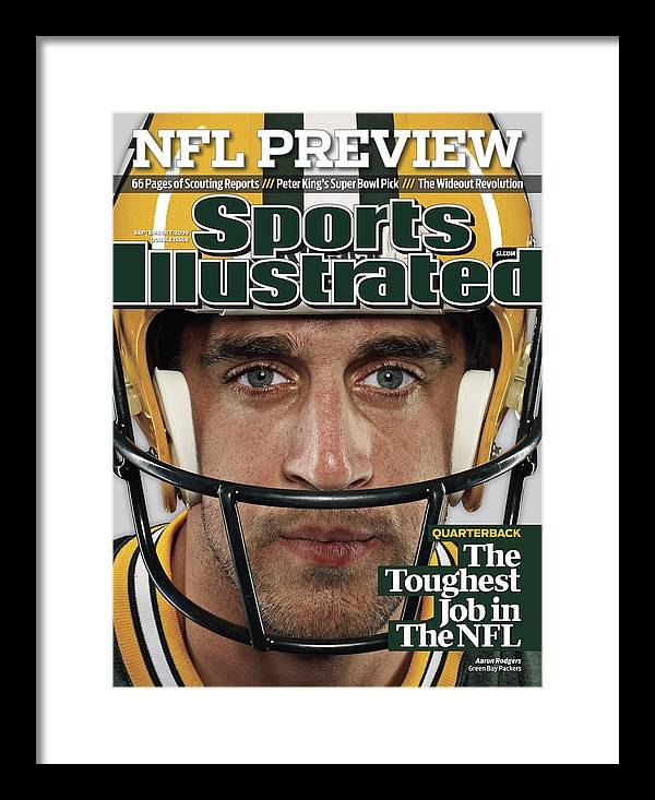People Framed Print featuring the photograph Green Bay Packers Qb Aaron Rodgers, 2009 Nfl Football Sports Illustrated Cover by Sports Illustrated