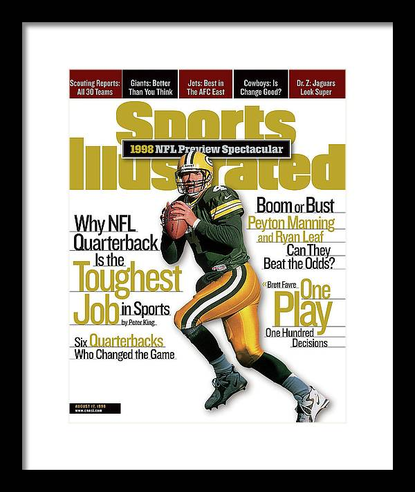 Green Bay Framed Print featuring the photograph Green Bay Packers Qb Brett Favre, 1998 Nfl Football Preview Sports Illustrated Cover by Sports Illustrated