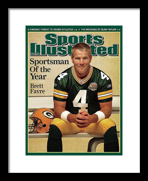 Magazine Cover Framed Print featuring the photograph Green Bay Packers Qb Brett Favre, 2007 Sportsman Of The Year Sports Illustrated Cover by Sports Illustrated