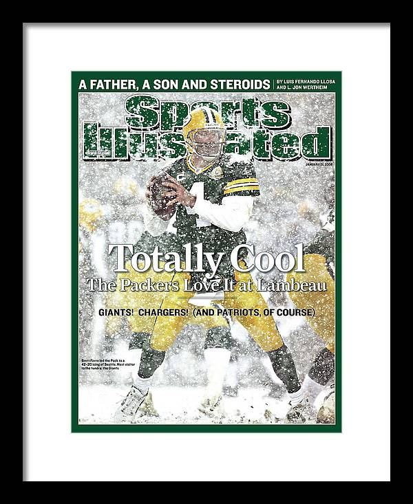 Playoffs Framed Print featuring the photograph Green Bay Packers Qb Brett Favre, 2008 Nfc Divisional Sports Illustrated Cover by Sports Illustrated