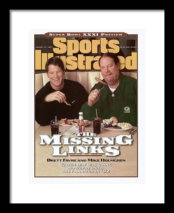 Green Bay Framed Print featuring the photograph Green Bay Packers Qb Brett Favre And Coach Mike Holmgren Sports Illustrated Cover by Sports Illustrated