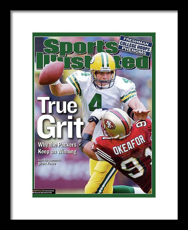 Brett Favre Framed Print featuring the photograph Green Bay Packers Qb Brett Favre... Sports Illustrated Cover by Sports Illustrated