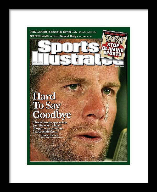 Magazine Cover Framed Print featuring the photograph Green Bay Packers Qb Brett Favre, March 17, 2008 Sports Sports Illustrated Cover by Sports Illustrated