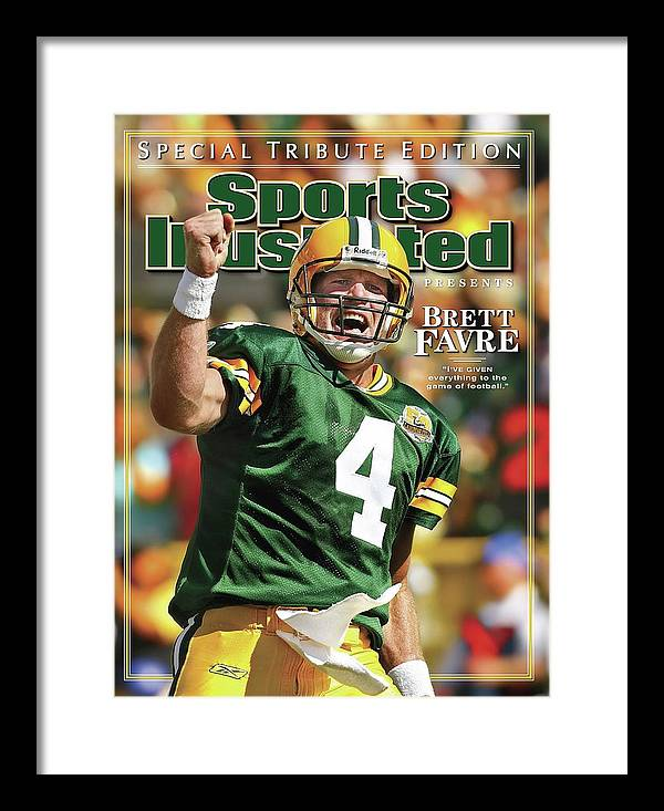 Green Bay Framed Print featuring the photograph Green Bay Packers Qb Brett Favre Special Tribute Edition Sports Illustrated Cover by Sports Illustrated