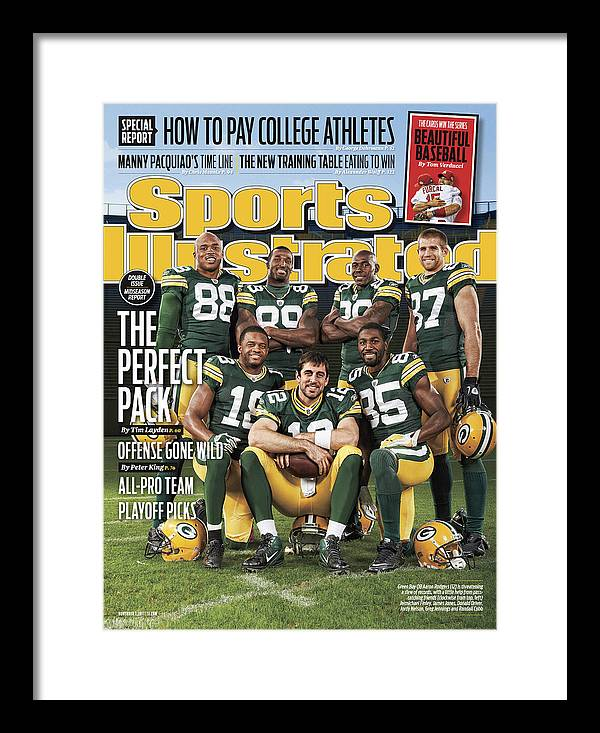 Green Bay Framed Print featuring the photograph Green Bay Packers The Perfect Pack Sports Illustrated Cover by Sports Illustrated