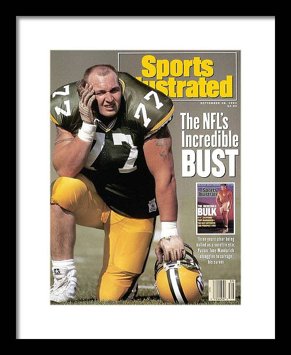 Green Bay Framed Print featuring the photograph Green Bay Packers Tony Mandarich... Sports Illustrated Cover by Sports Illustrated