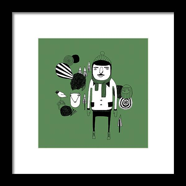 People Framed Print featuring the digital art Green Forest by Stine Kaasa Illustration