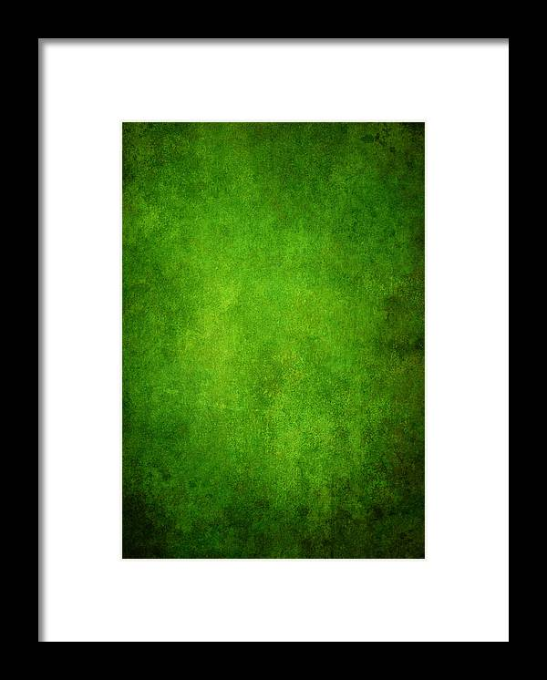 Stained Framed Print featuring the photograph Green Grunge Background by Mammuth