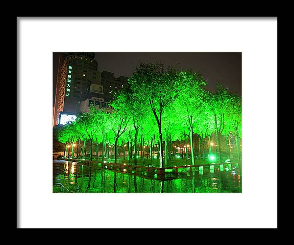 Outdoors Framed Print featuring the photograph Green Illuminated Trees, China by Shanna Baker