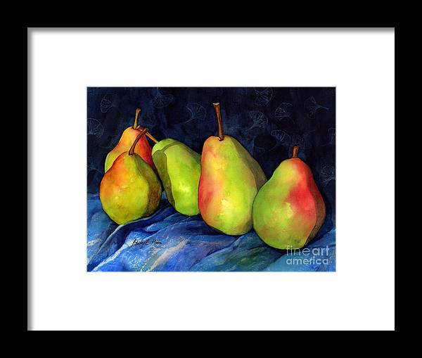 Pear Framed Print featuring the painting Green Pears by Hailey E Herrera