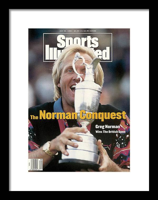 Magazine Cover Framed Print featuring the photograph Greg Norman, 1993 British Open Sports Illustrated Cover by Sports Illustrated