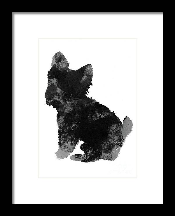 Yorkie Framed Print featuring the painting Grey And Black Silhouette Of A Yorkie Facing Left by Joanna Szmerdt