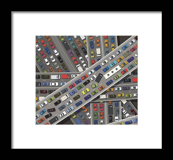 Land Vehicle Framed Print featuring the digital art Gridlock by Timoph