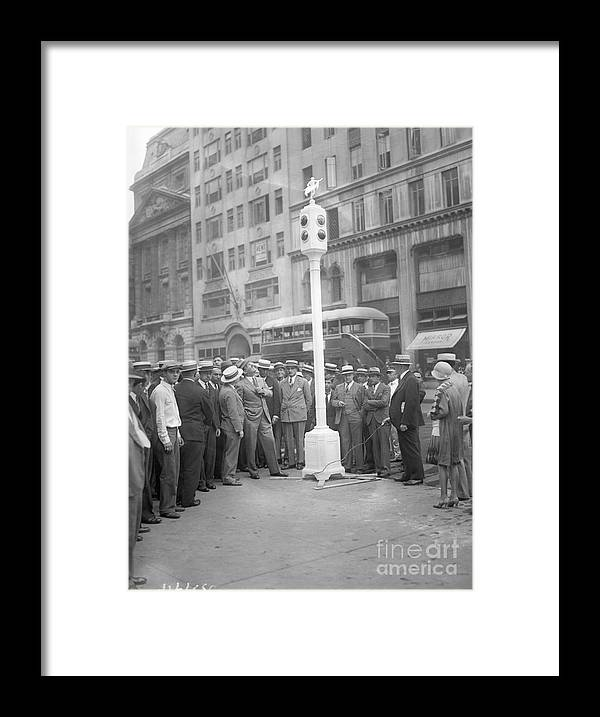 Crowd Of People Framed Print featuring the photograph Grover Whalen Inspects New Traffic by Bettmann
