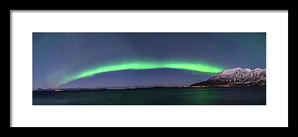Aurora Borealis Framed Print featuring the photograph Grytoya And Andoya by Kai Mueller