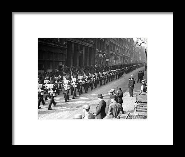 Marching Framed Print featuring the photograph Guards In City by Fox Photos