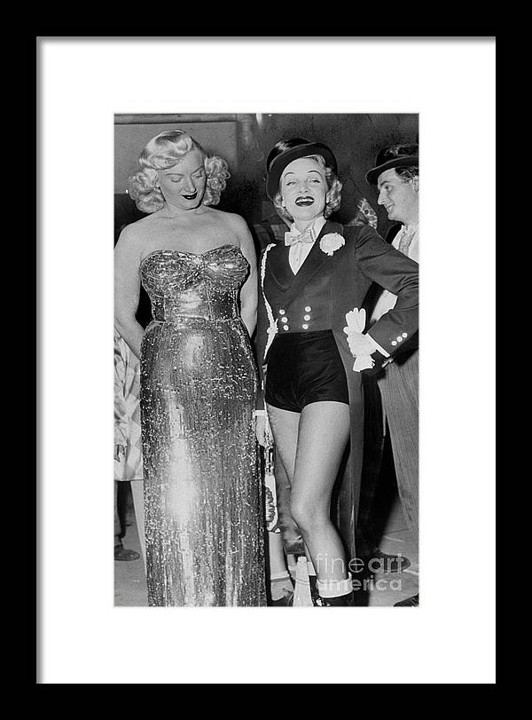Charity Benefit Framed Print featuring the photograph Guest Ring Mistress Marlene Dietrich by New York Daily News Archive