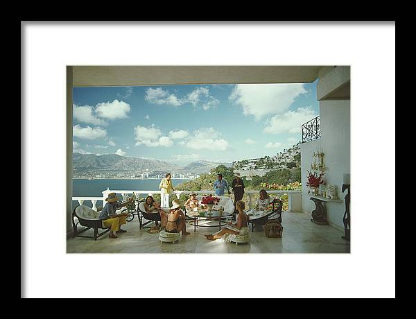 People Framed Print featuring the photograph Guests At Villa Nirvana by Slim Aarons