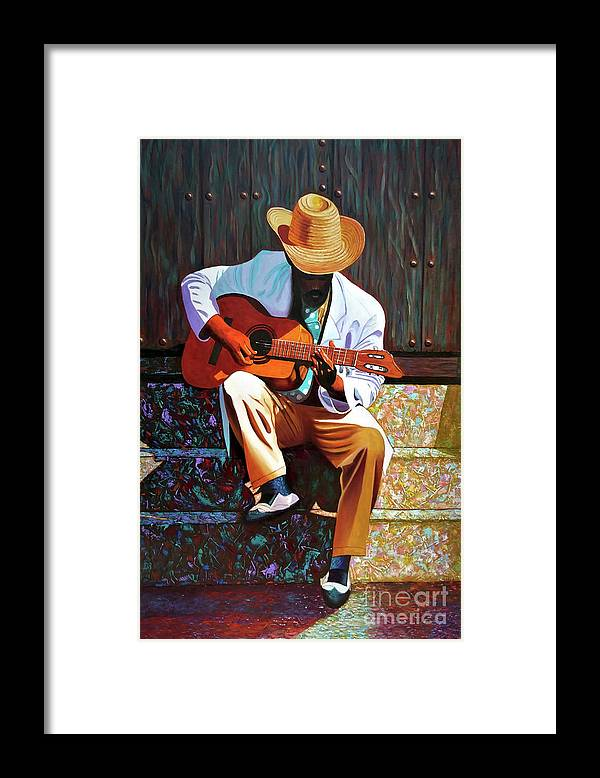 Cuban Framed Print featuring the painting Guitar player #3 by Jose Manuel Abraham