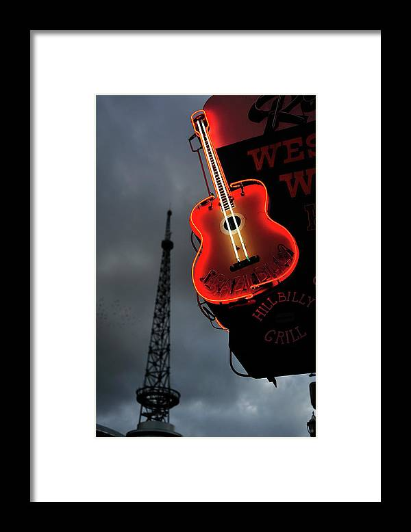 Outdoors Framed Print featuring the photograph Guitar With Nashville by James Atkinson Photography