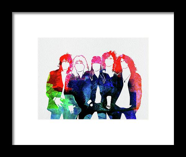Guns N' Roses Framed Print featuring the mixed media Guns N' Roses Watercolor by Naxart Studio