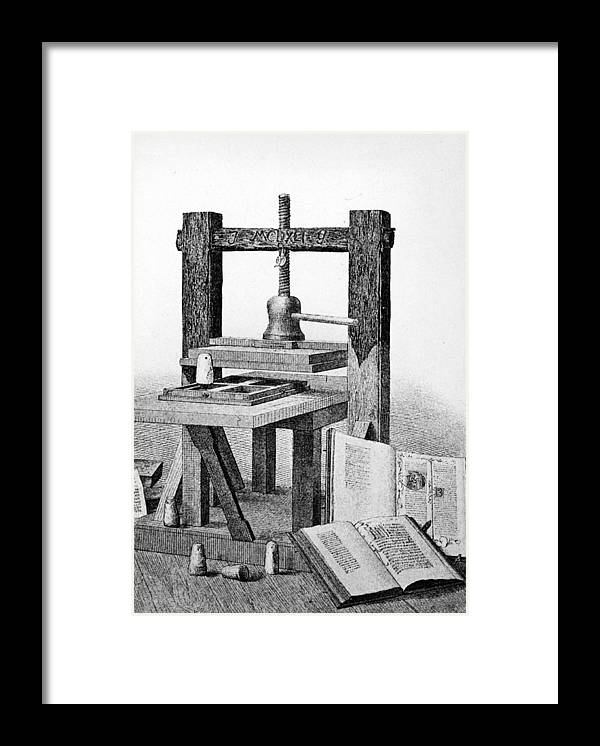 Engraving Framed Print featuring the photograph Gutenberg Printing Press by Authenticated News