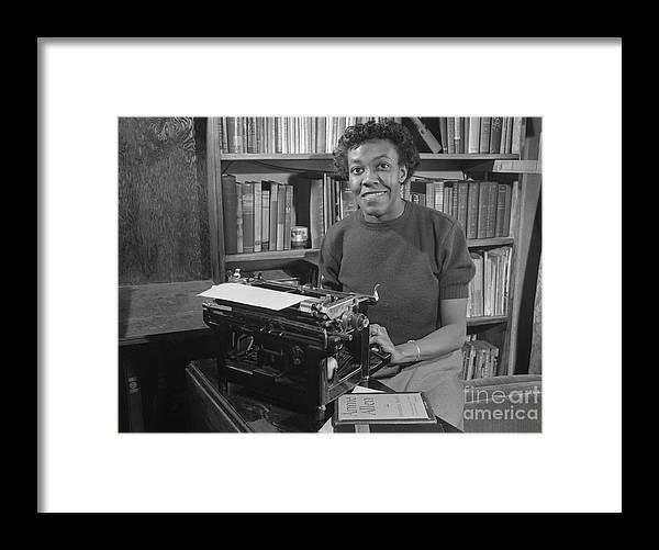 People Framed Print featuring the photograph Gwendolyn Brooks With Typewriter by Bettmann