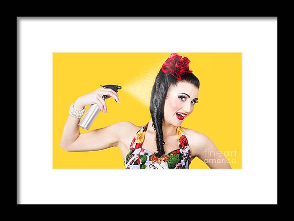 Hair Framed Print featuring the photograph Haircare. Brunette Pinup Woman Using Hair Product by Jorgo Photography - Wall Art Gallery
