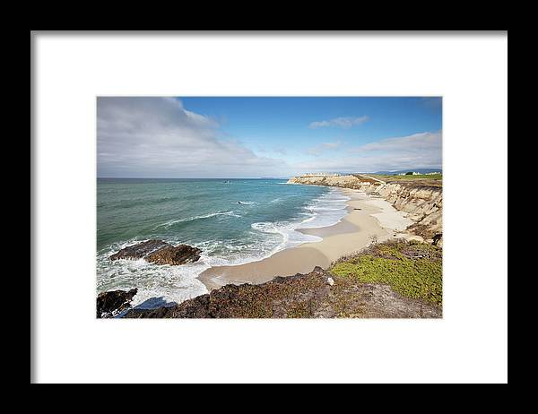 Water's Edge Framed Print featuring the photograph Half Moon Bay California by Stevegeer