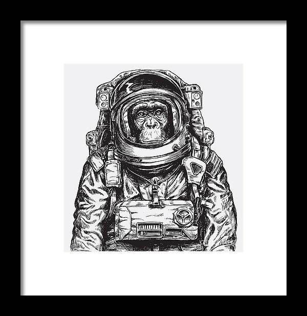 Monkey Framed Print featuring the digital art Hand Drawn Monkey Astronaut Vector by Tairy Greene