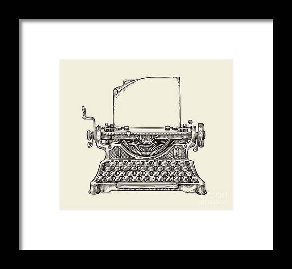 Mail Framed Print featuring the digital art Hand Drawn Vintage Typewriter. Sketch by Ava Bitter