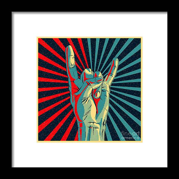 Rocker Framed Print featuring the digital art Hand In Rock N Roll Sign Vector by Premiumvector