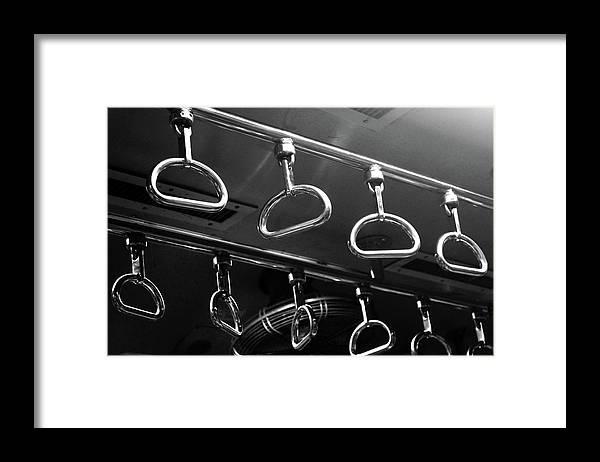 Handle Framed Print featuring the photograph Handles Inside Mumbai Local Train by Riteshsaini