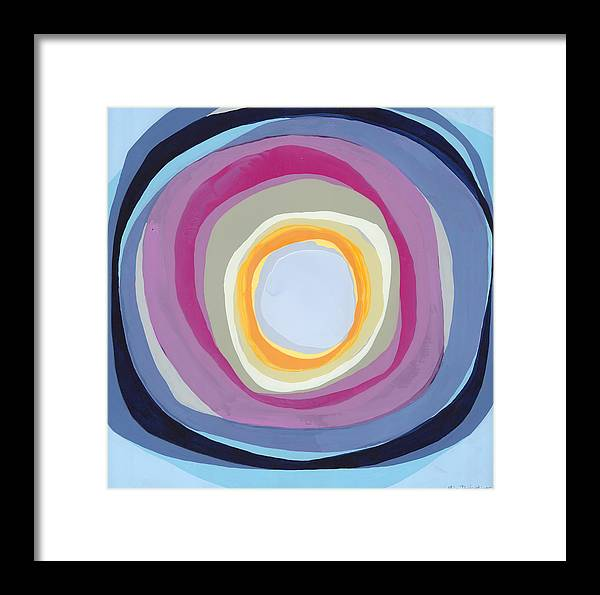 Abstract Framed Print featuring the painting Hang Cool by Claire Desjardins