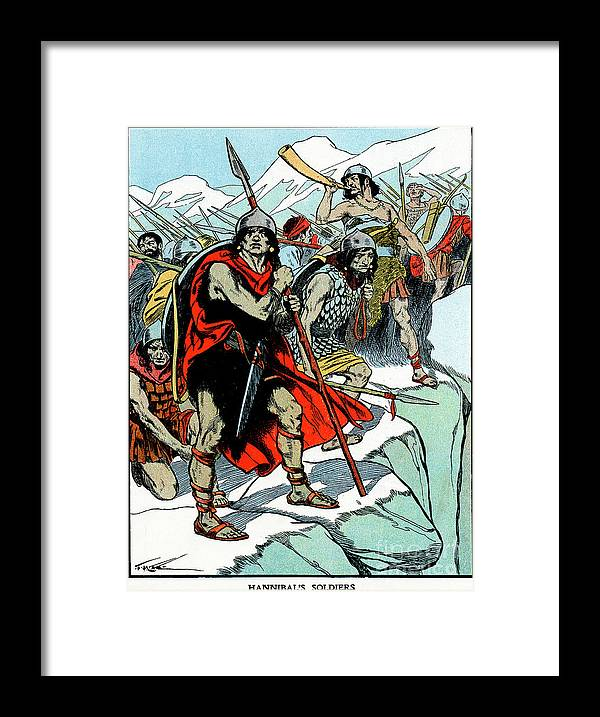 People Framed Print featuring the drawing Hannibal Crossing The Alps, 218 Bc by Print Collector