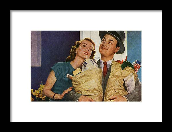 People Framed Print featuring the digital art Happy Couple Holding Groceries by Graphicaartis