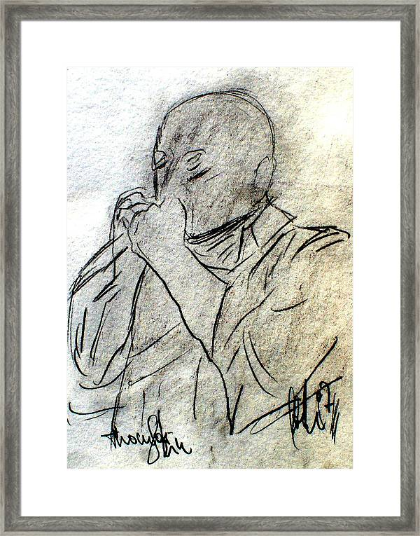 Music Framed Print featuring the painting Harmonica Player by Andreas Hoetzel