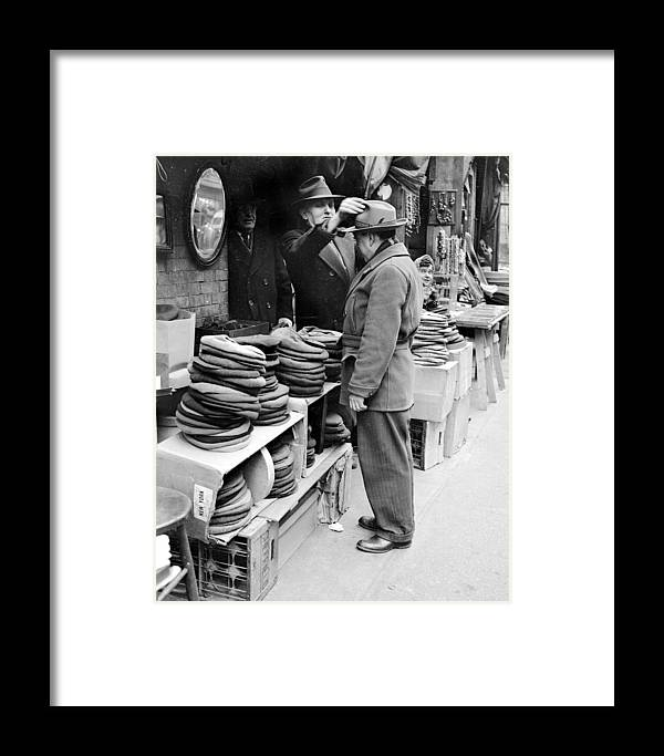 1940-1949 Framed Print featuring the photograph Harry Kregman, Owner Of Hats & Caps, At by New York Daily News Archive
