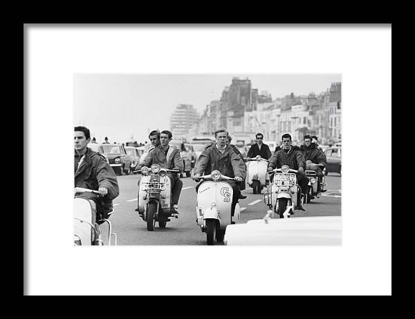 People Framed Print featuring the photograph Hastings Mods by Terry Fincher
