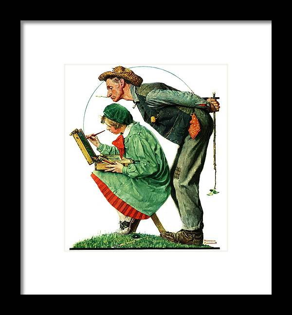 Artists Framed Print featuring the drawing hayseed Critic by Norman Rockwell