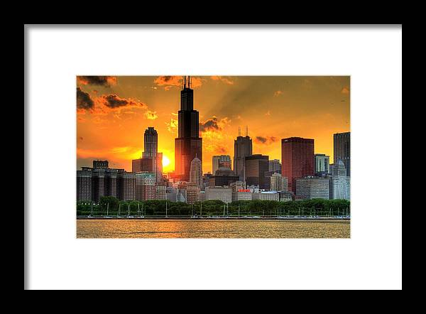 Tranquility Framed Print featuring the photograph Hdr Chicago Skyline Sunset by Jeffrey Barry