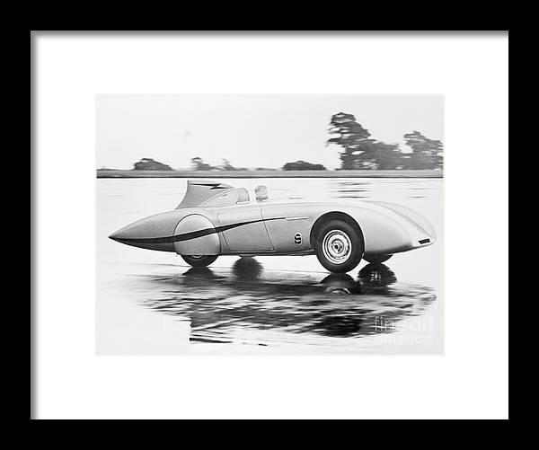People Framed Print featuring the photograph Healey Racing At Bonneville Salt Flats by Bettmann