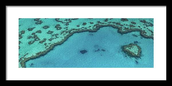 Panoramic Framed Print featuring the photograph Heart Reef, Great Barrier Reef by Francesco Riccardo Iacomino