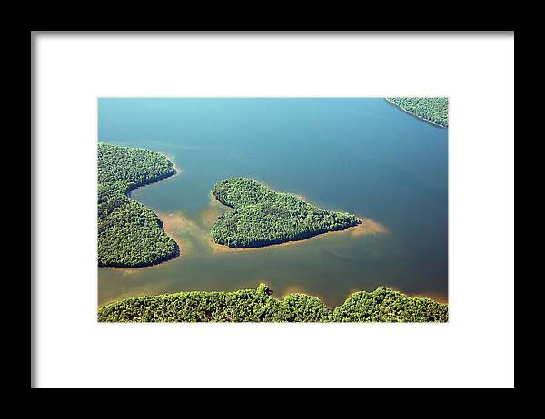Outdoors Framed Print featuring the photograph Heart-shaped Island In Lake by Thomas Jackson